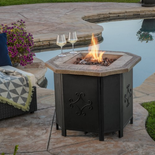 Riley 30 Inch Copper Octagonal Magnesium Oxide Gas Fire Pit 40 000 Btu Concrete Fire Pits Fire Pit Small Fire Pit