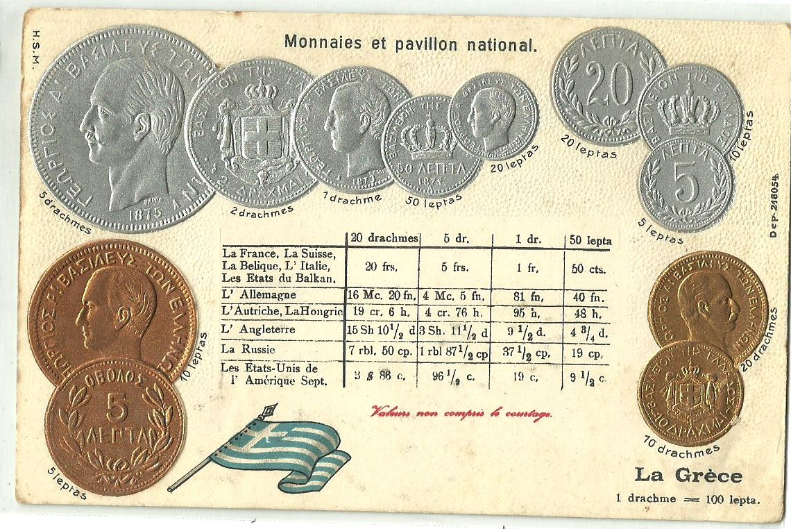 Currency Converter Calculator Grease Greece National Flag Coin Old Silver Gold Embossed Postcard