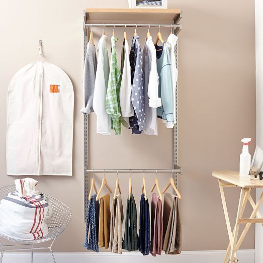 The Hang-It Set includes: 2 closet rods, 1 fixed shelf + 2 wall-mounted vertical rails.