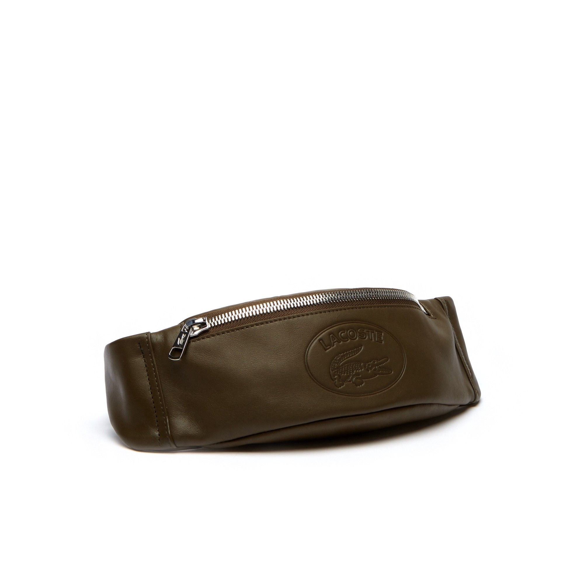 19a3b2519fa3 Lacoste Men s L.12.12 Casual Embossed Lettering Leather Zip Fanny Pack -  Military Olive
