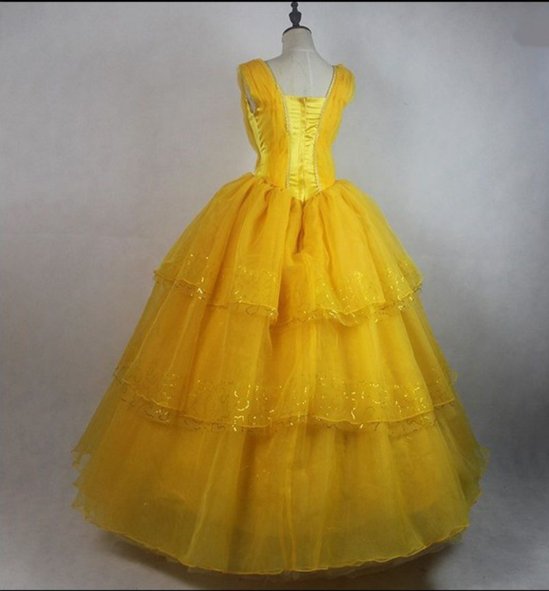 Adult Beauty and The Beast Princess Belle Cosplay Costume Ball Gown Fancy Dress