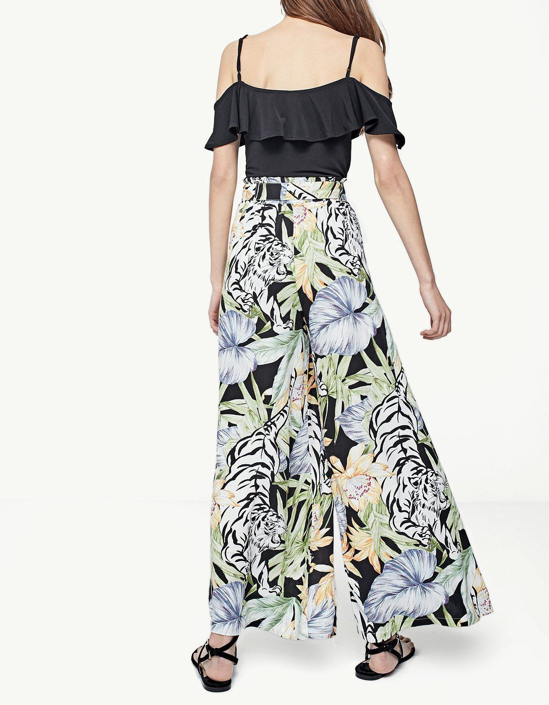 ef2a8b78582a2 Printed palazzo trousers - Trousers