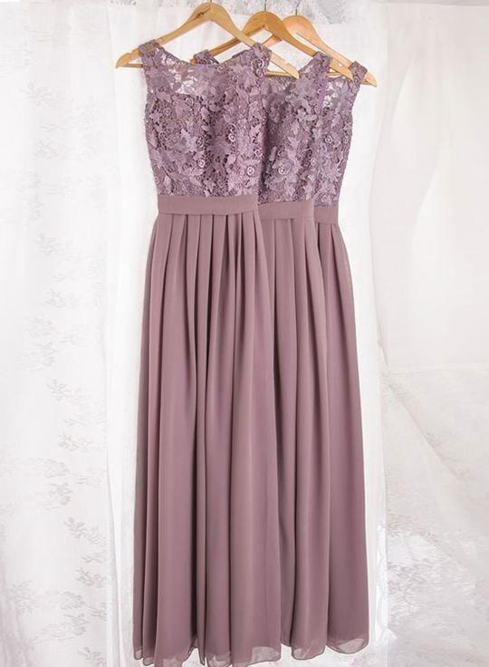 Dusty Purple Lace Chiffon Long Prom Dress Bridesmaid Dress