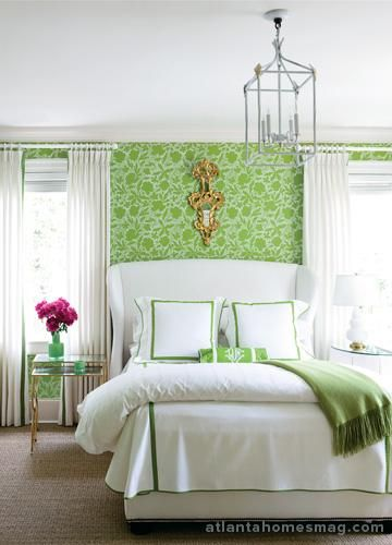 Bedrooms Apple Green Floral Wallpaper White Wingback Bed White Hotel Bedding Green And White Bedroom Guest Bedrooms Green Home Decor