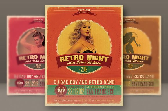 Retro Style Party Flyer – Retro Flyer Templates