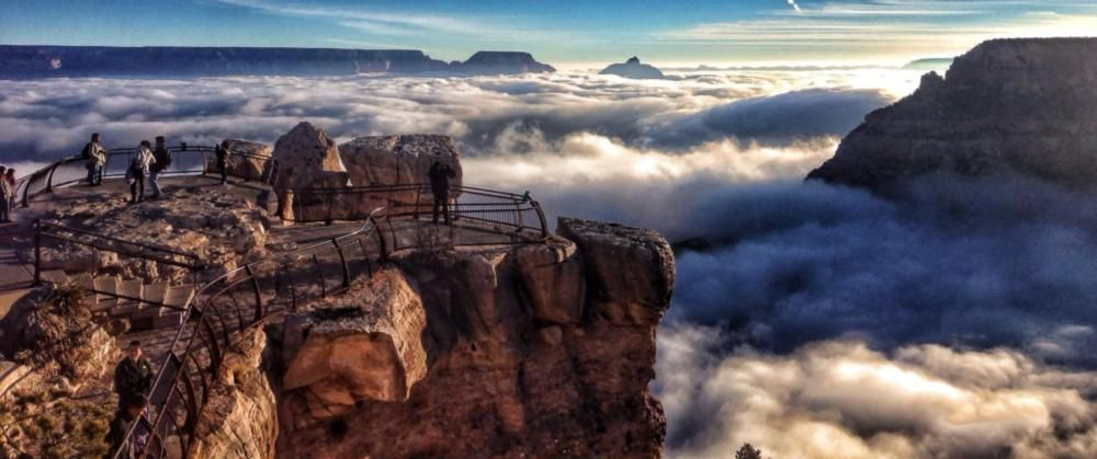 The Grand Canyon filled with fog.