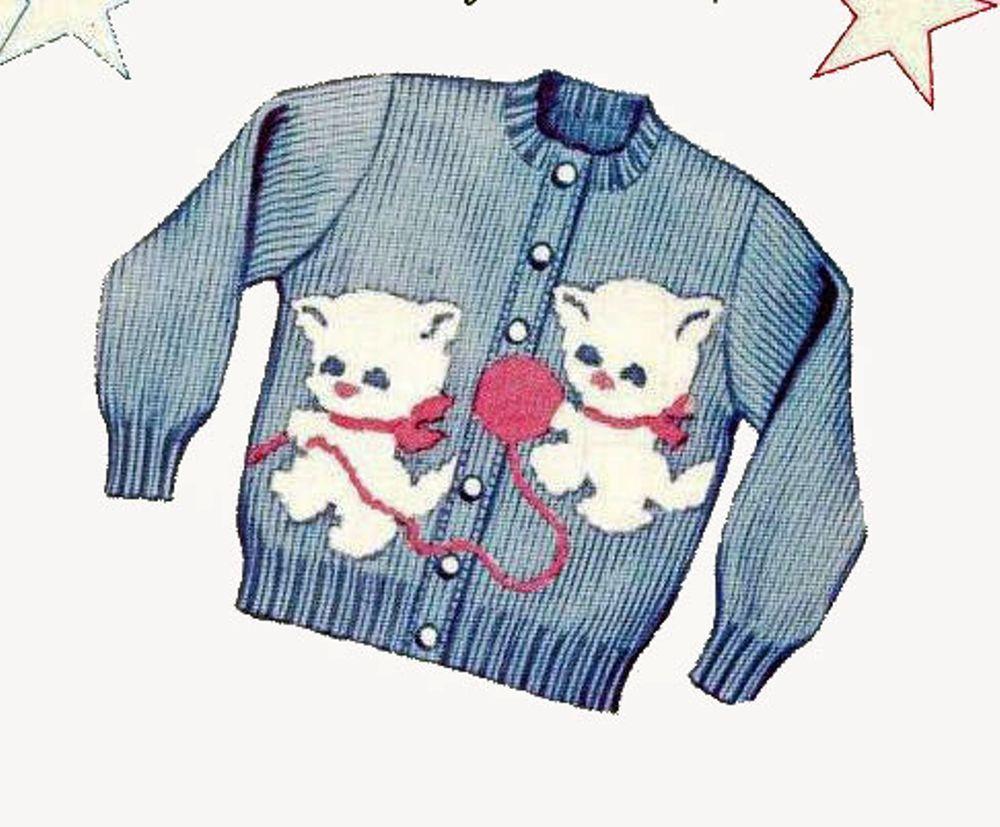 Girls Cardigan Sweater Knitting PATTERNS Kittens Knit O Graf 925 ...