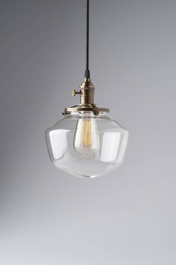 8 Clear Gl Shade Schoolhouse Style Light Pendant