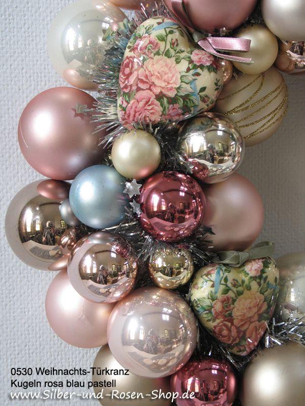 Weihnachtsdeko Kugeln Groß.Türkranz Weihnachten Kugeln Marble Pink Groß Weihnachtsdeko