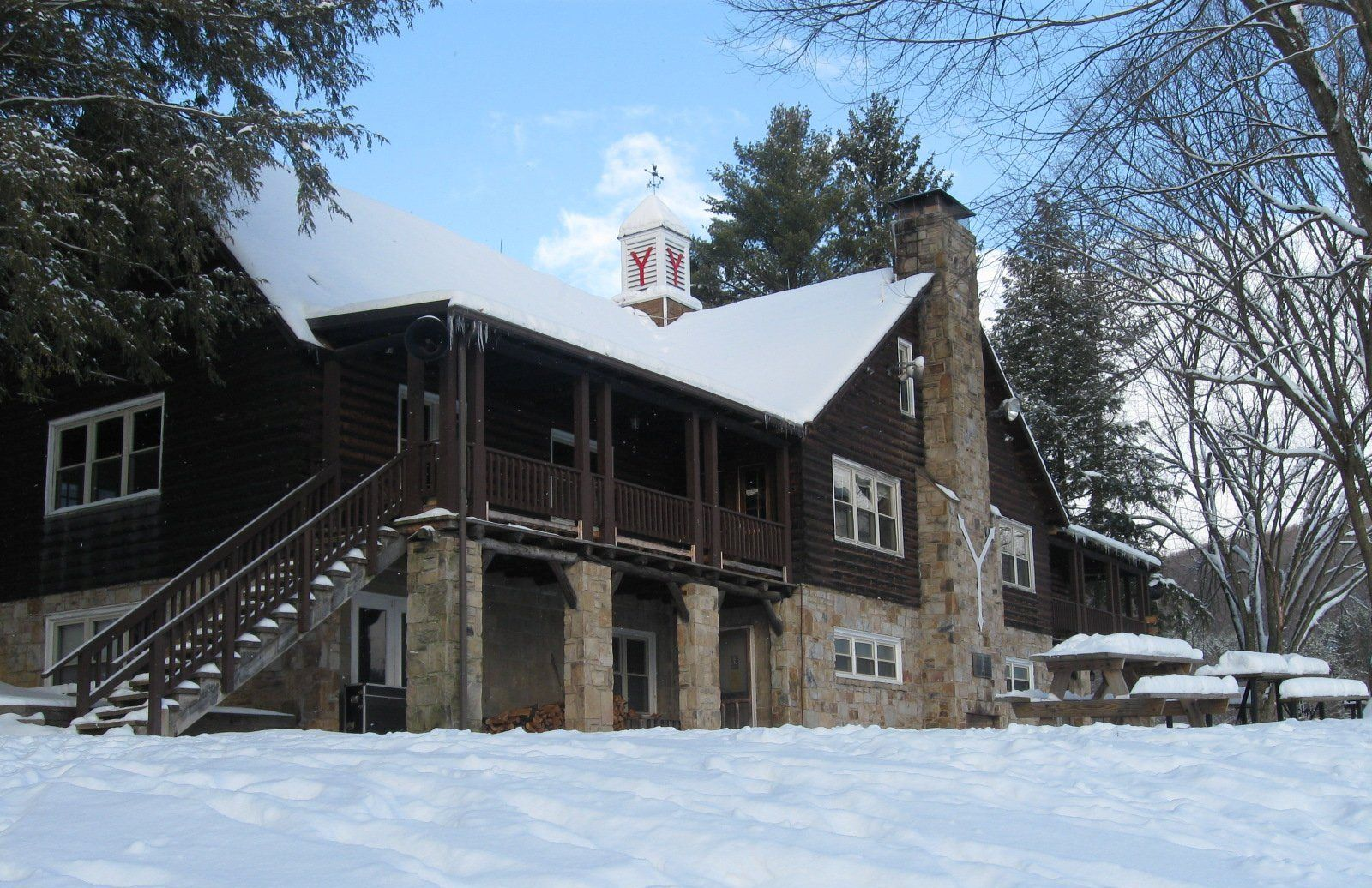 shaw lodge dining hall in the winter at ymca camp soles a