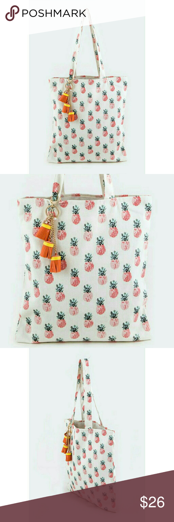 Pineapple tote handbag w/ tassel keychain NWT Fun and trendy pineapple theme tote bag with a cute tassel chain chain. Great for daily use, travel, beach, book bag & more. Soft canvas. 15x13x1. Brand new with tag. Jill Marie Boutique Bags Totes