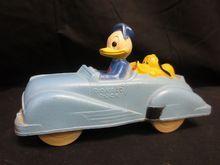 Disney Sun Rubber Donald Duck Pluto Convertible Car Vintage Toy Vintage Disney Disney Toys Rubber Doll