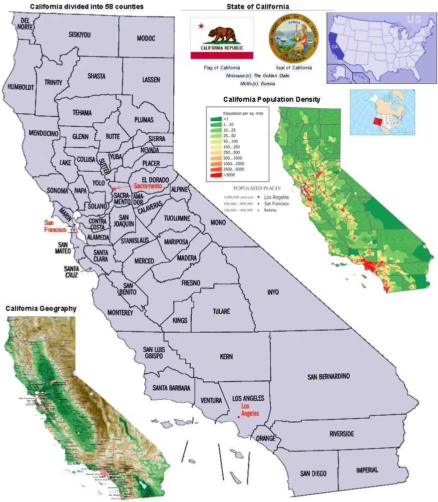 California Counties and Population Density   Geography map [ 1006 x 877 Pixel ]