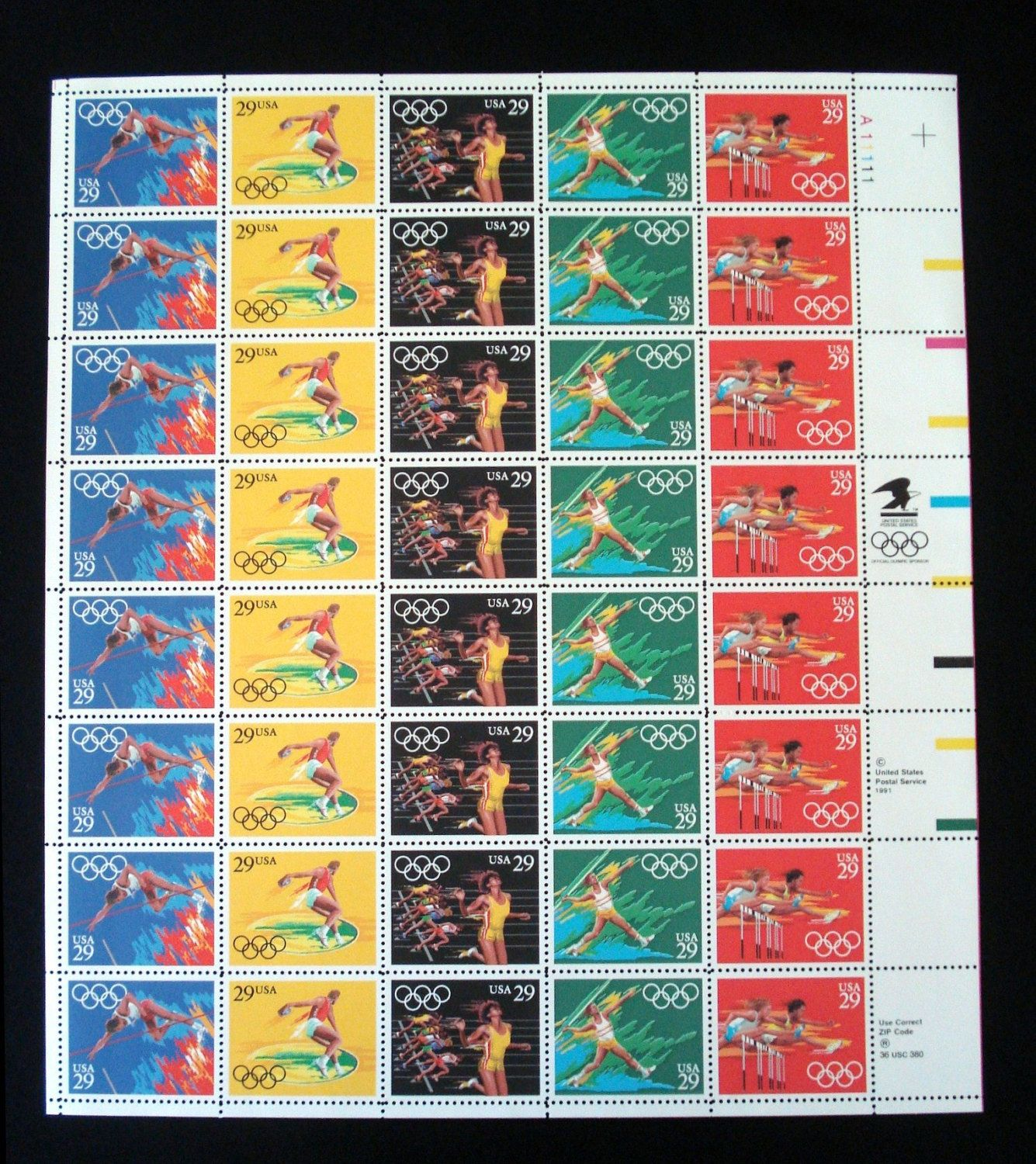 Summer Olympics Track and Field Sports 1991 Mint Sheet