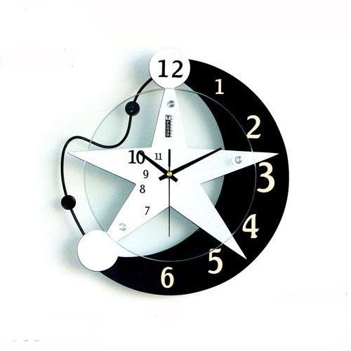 Bedroom Wall Clock Design : Black grey wall clocks of moon star design clock