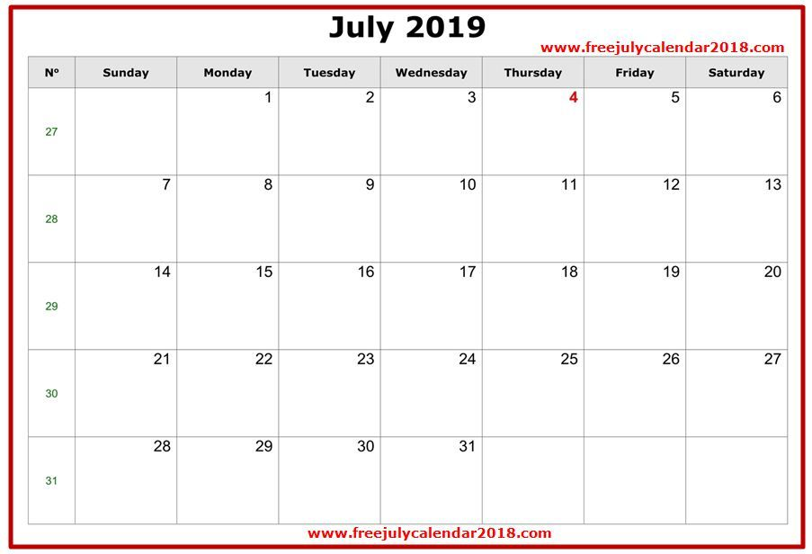 2019 July Calendar Excel Templates July 2019 Calendar Template