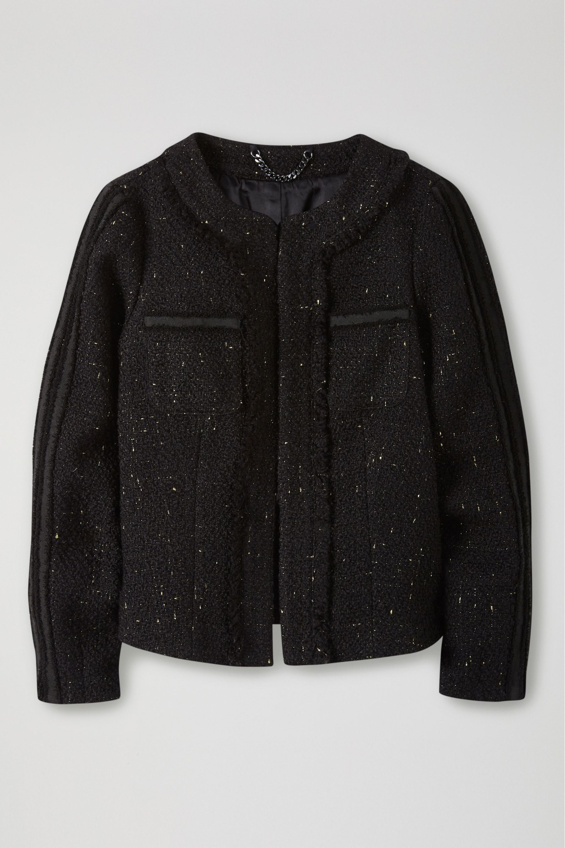 Womens Pure Collection Black Fringed Tweed Jacket Black