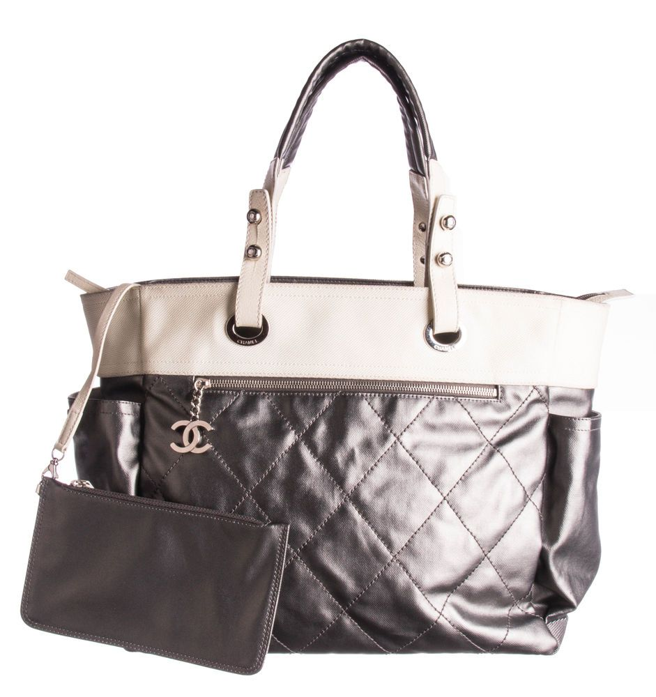 ce747021 CHANEL Metallic Silver White Coated Canvas Paris Biarritz Tote Bag ...