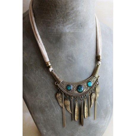 www.loiseauseraphine.fr  #bib #bibnecklace #collier #plastron #faitmain #bohostyle #blue #handmadejewelry #ethnic