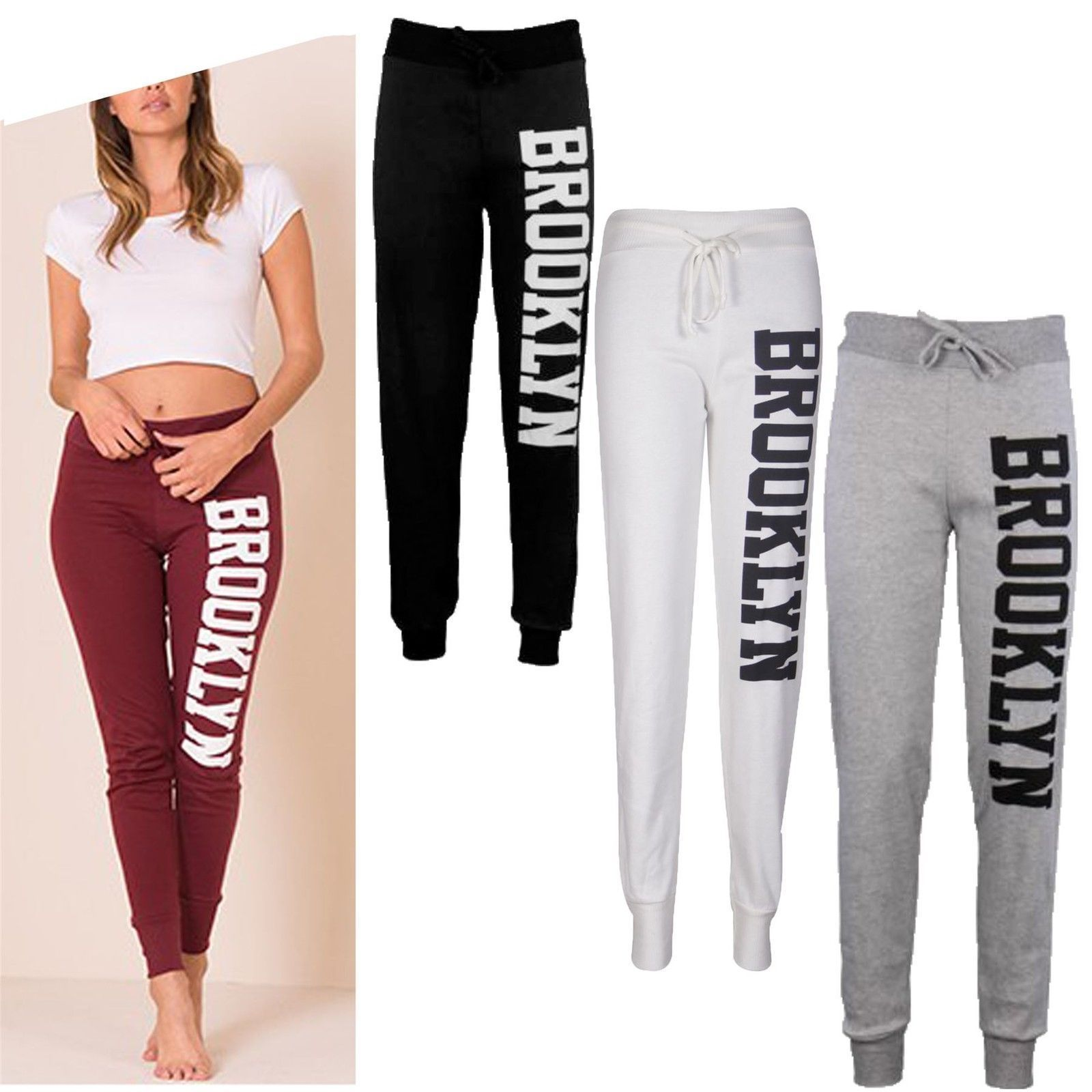 NEW WOMENS LADIES BROOKLYN RUNNING GYM TROUSER JOGGER JOGGING BOTTOMS PLUS SIZES