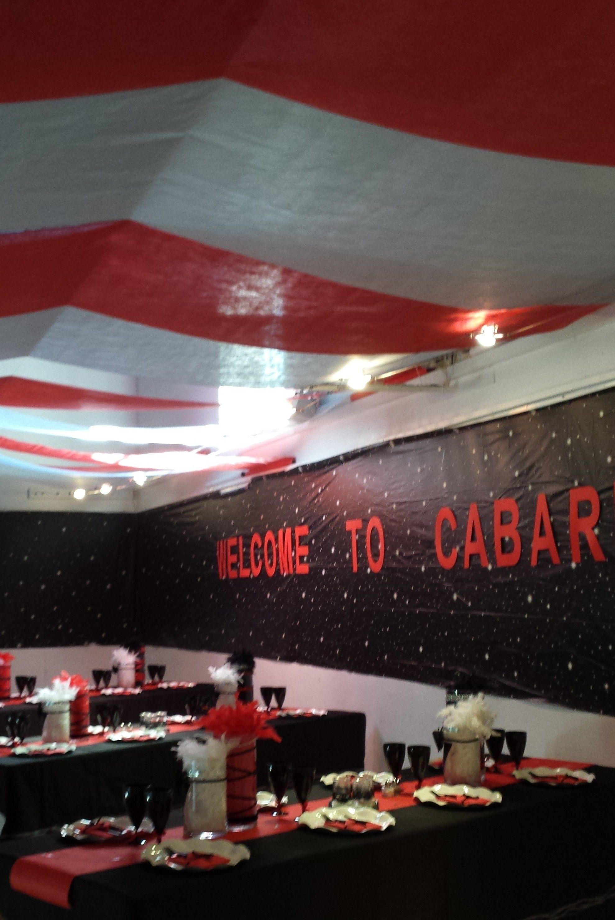 Décoration de tables et de la salle   Anniversaire thème Cabaret