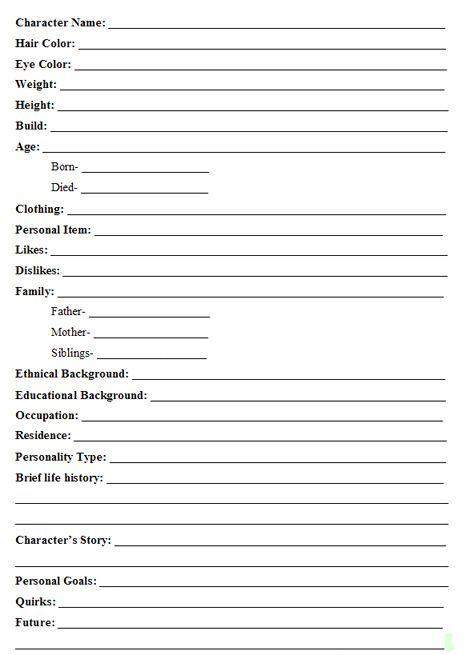 character template writing writing writing characters writing tips