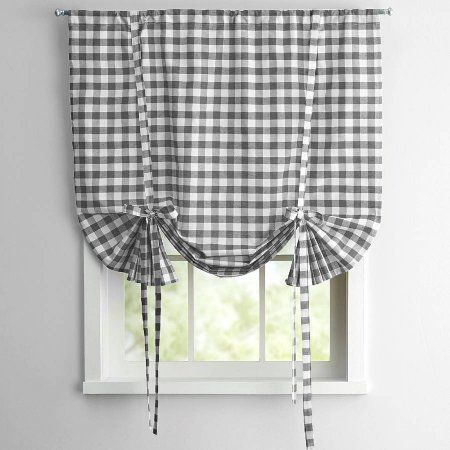 Buffalo Check Kitchen Curtain Tier Pairs 24 Inch 36 Inch And Valance 14 Inchl X 58 Inchw Grey Tie Up Shades Sweet Home Collection Roller Shades
