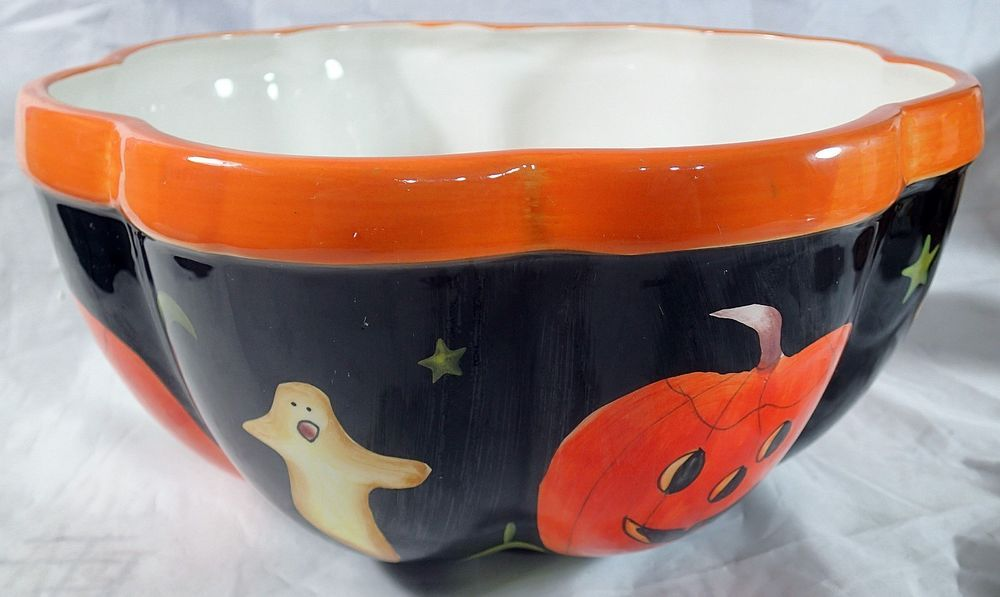 Halloween Decor Large Scalloped Candy Serving Bowl Pumpkins Ghost