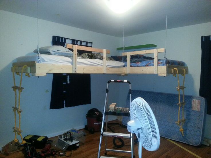 Hanging loft beds bfwqv6bz kids room pinterest lofts for Suspended beds for kids