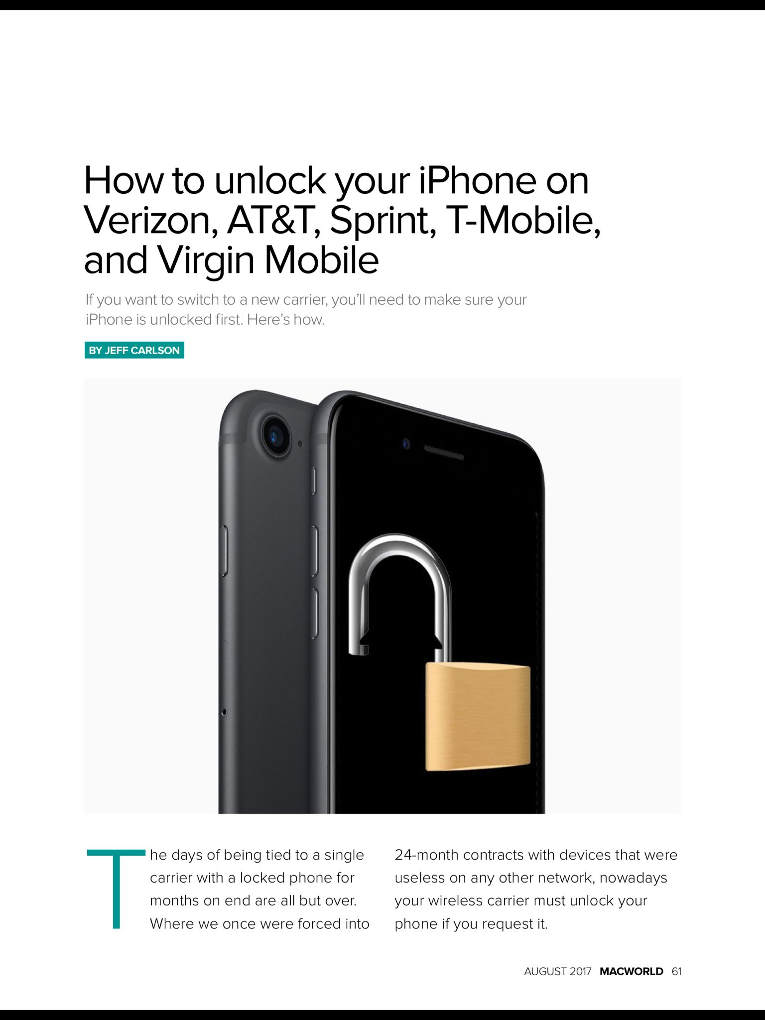 """How to unlock your iPhone"" from Macworld, August 2017"
