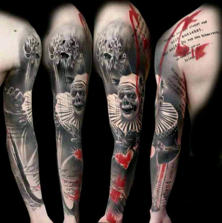 Realistic Trash Polka Tattoo Arm Pieces Clown Tattoo