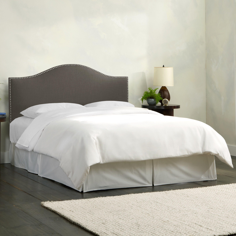 Skyline Furniture Linen Slate Nail Button Headboard (Twin), Grey