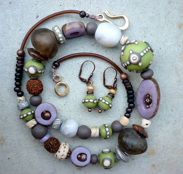 Funky polymer clay beaded necklace