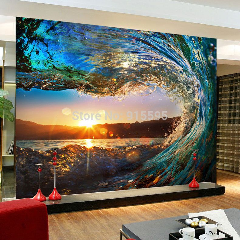 3D Wallpaper Bedroom Mural Roll Luxury Modern Waves Sea Sunset Wall  Background #Unbranded #Mediterranean