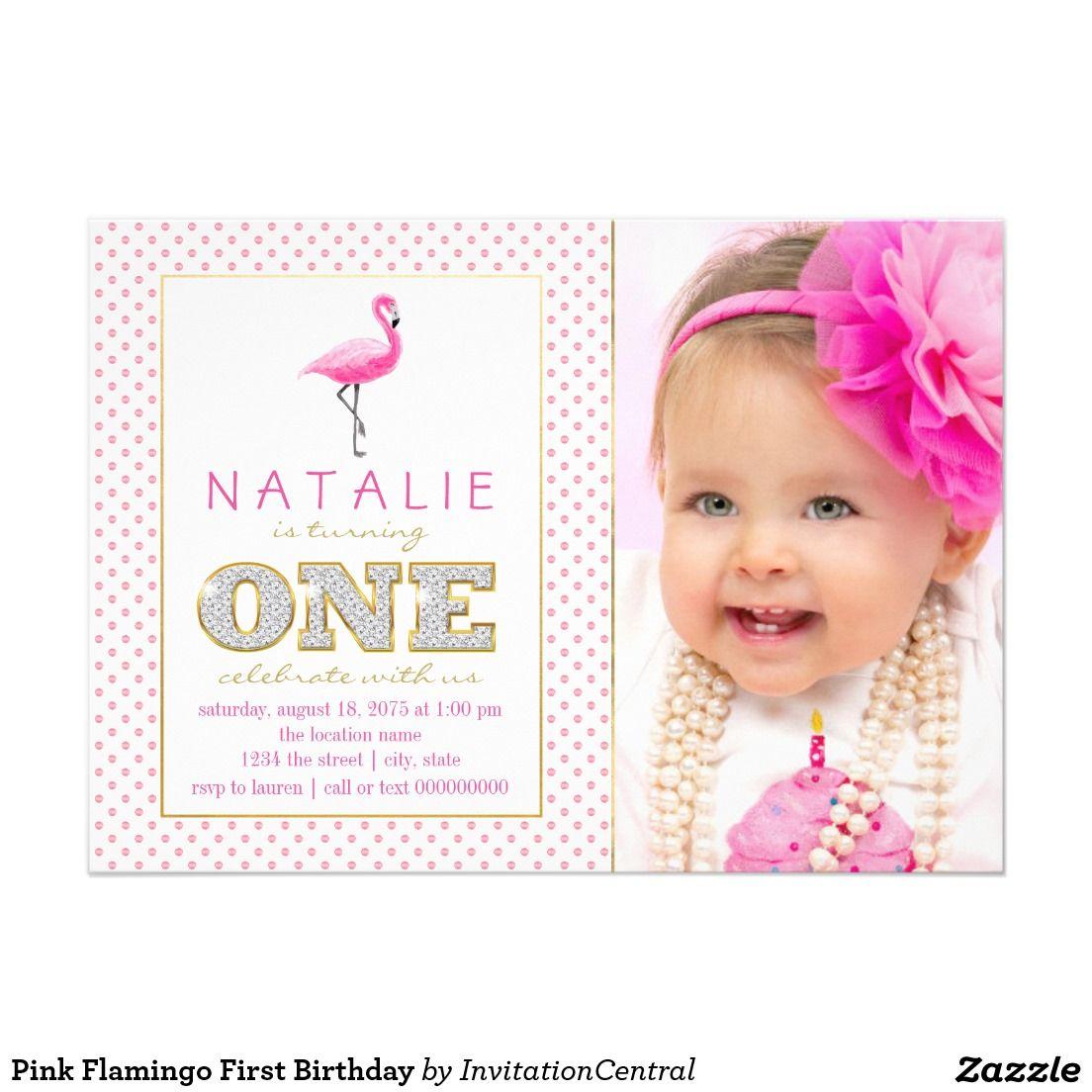 Pink Flamingo First Birthday Card | First Birthday Invitations Ideas ...