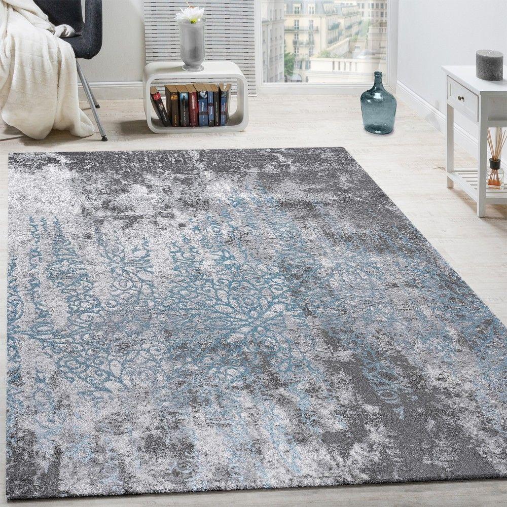 Designer Teppich Wohnzimmer Teppiche D Edel Shabby Chick Vintage Grau Blau  Wohn Und With Teppich Vintage Blau
