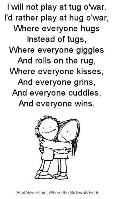 Silverstein hug shel o war poem