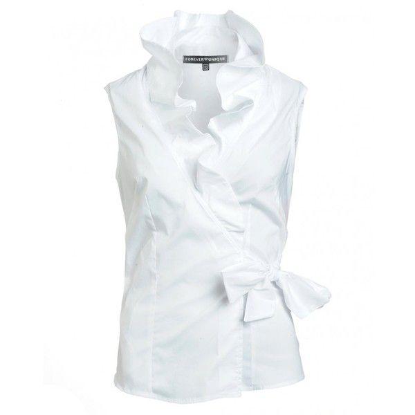 c36904e0ad8dab Sleeveless ruffle blouse | Style in 2019 | White sleeveless blouse ...