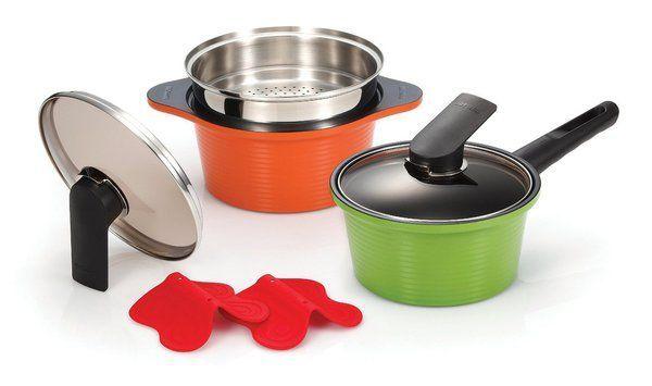 Happycall 3900-2003 Hard Anodized Ceramic Nonstick Pot 7-Piece Set, Oven Safe, Dishwasher Safe, Steamer, Silicone Pot Ho