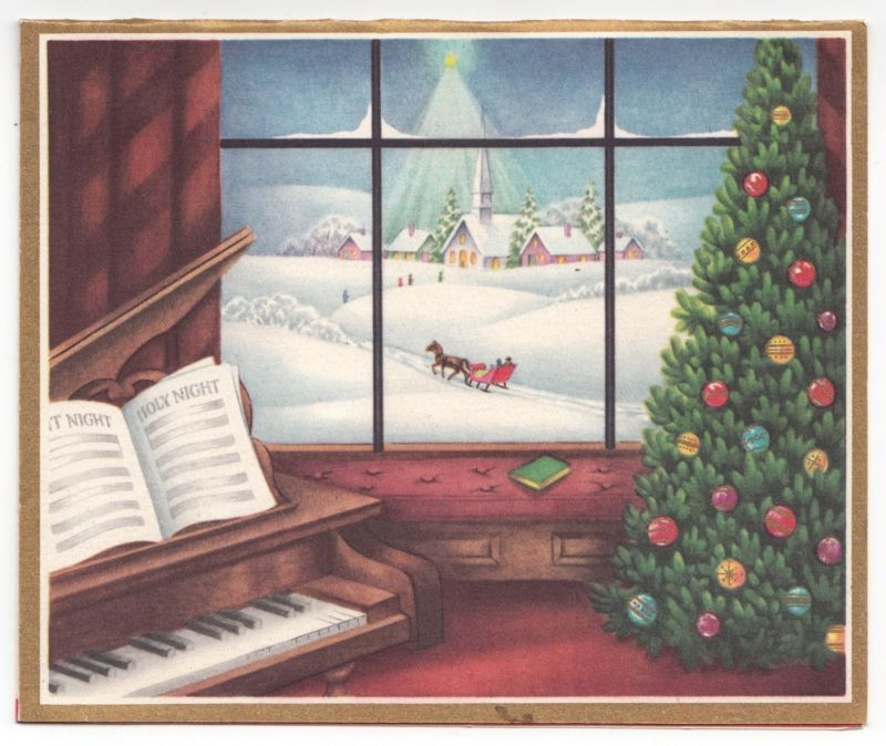 Vintage Greeting Card Christmas WIndow View Outside Snowy Scene Piano Tree