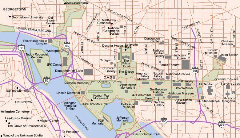 Map Of Washington Dc Free Printable Maps Washington DC Map - Arlington cemetery on us map