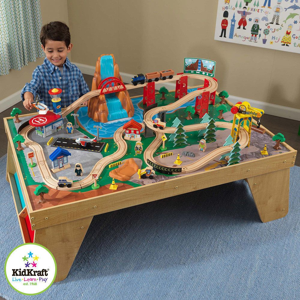 Train Set Table Large Station Wooden Kids Childrens Accessories Pre ...
