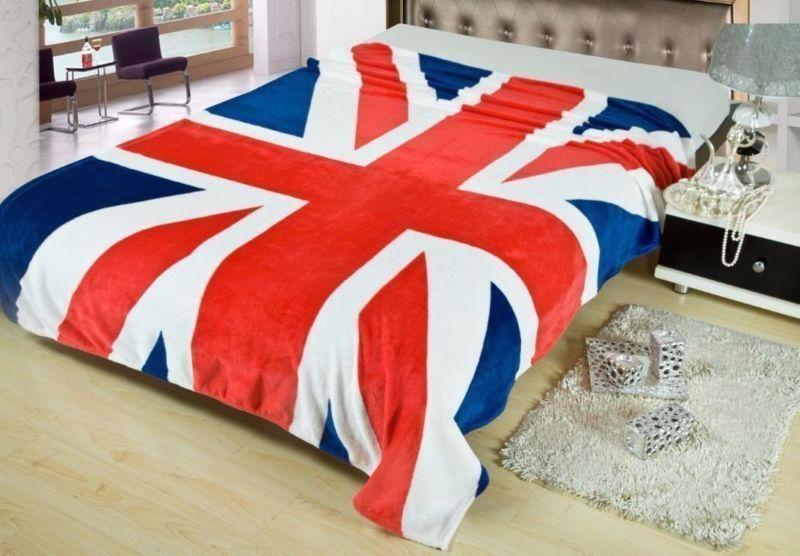 "British Flag England Union Jack Coral Fleece Throw Blanket Rug Plush59""X79"""