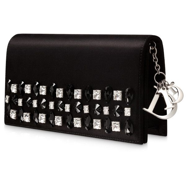 """DIORISSIMO Pochette busta """"Diorissimo"""" pelle lilla ❤ liked on Polyvore featuring bags, handbags, clutches, black purse, tablet purse, black handbags and black clutches"""
