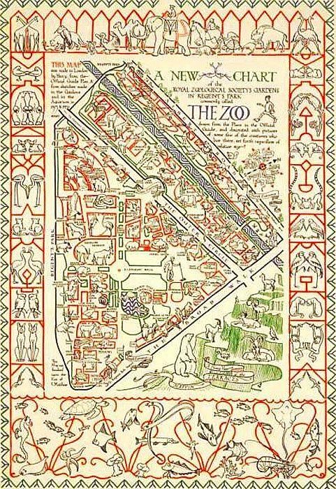 Cette affiche publicitaire pour le zoo de Londres fut dessinée en 1927. Elle était destinée à être affichée dans le métro. La représentation des différents secteurs du zoo était si précise qu'elle aurait pu servir de guide topographique. #Histoire #AnnéesFolles #CitédesSables http://bit.ly/2zPvGm3 http://bit.ly/2vVwKyx