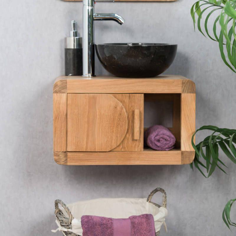 Mueble pequeño de cuarto de baño suspendido 50 cm de teca ...