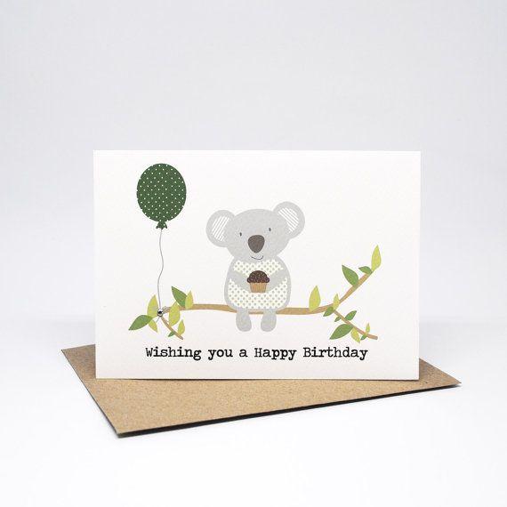 Koala Birthday Card Koala Card For Her Australian Themed Etsy Birthday Cards Cards Birthday Cards For Women