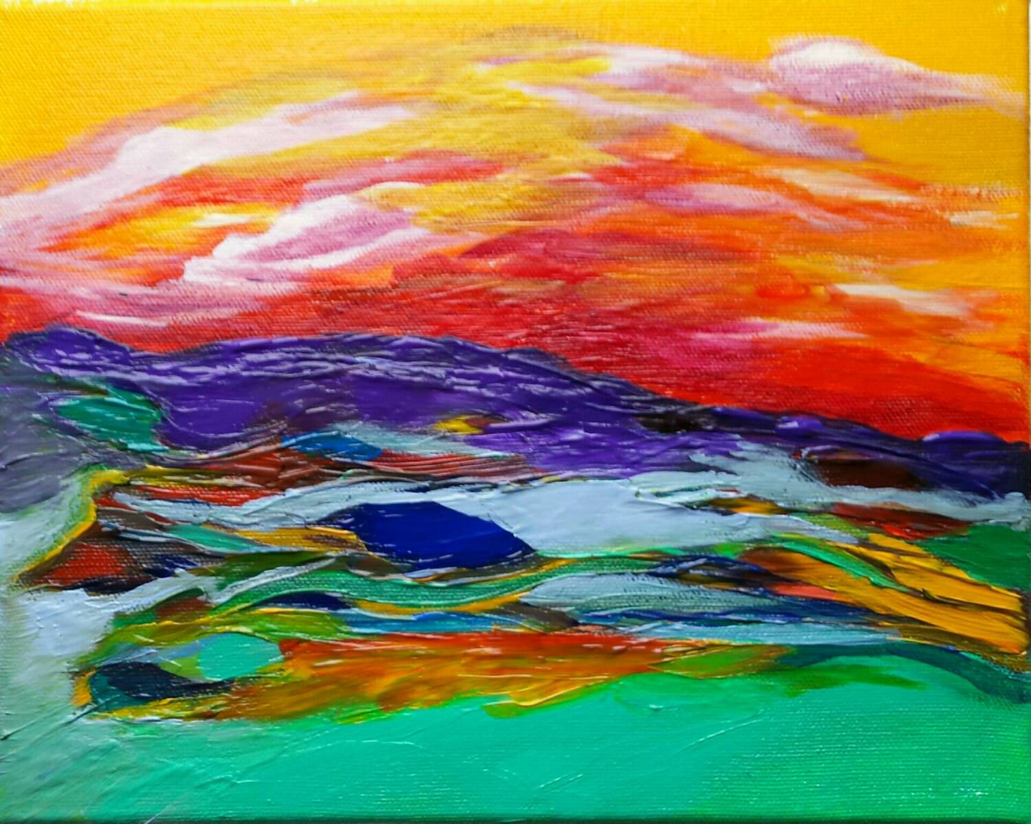 Colorful Mountain Painting Abstract Art Landscape Painting Original Art Mountain Paintings Mountain Paintings Abstract Art Painting Abstract Art Landscape