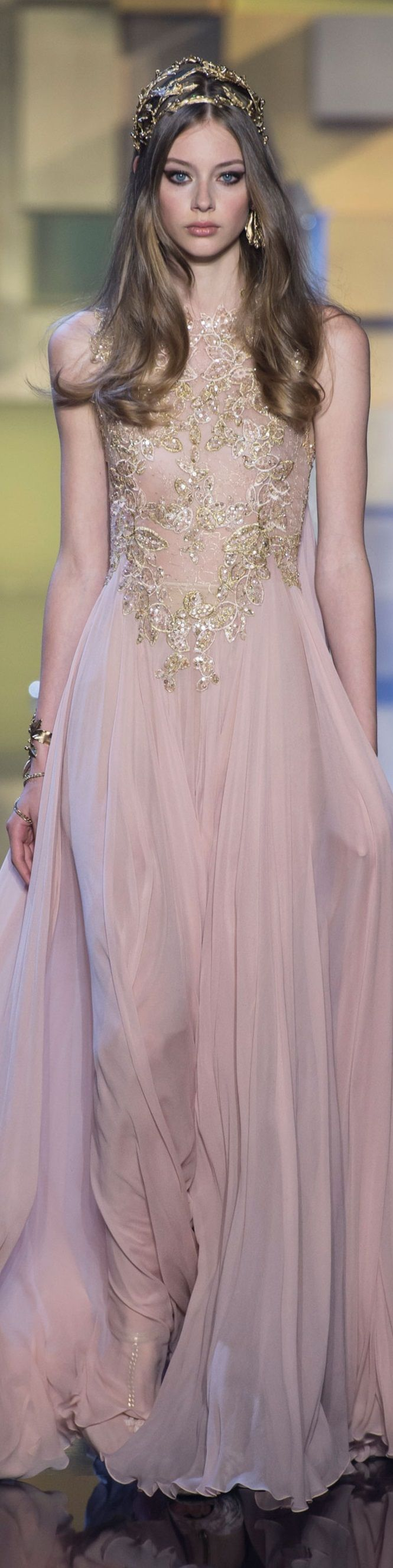 Elie Saab ~ Couture Soft Pink Gown w Gold + Crystal Embellishment ...