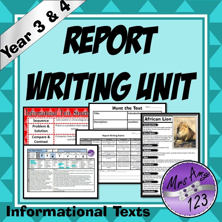 Report Writing Unit (Informational Texts) -Year 3 and 4- Aligned ...